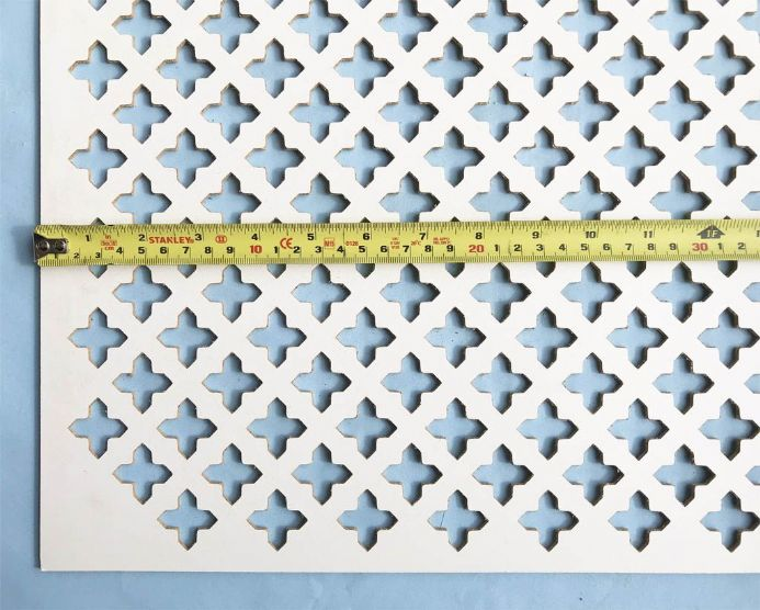 Oregon (large pointed cross) white faced perforated MDF decorative screening panel